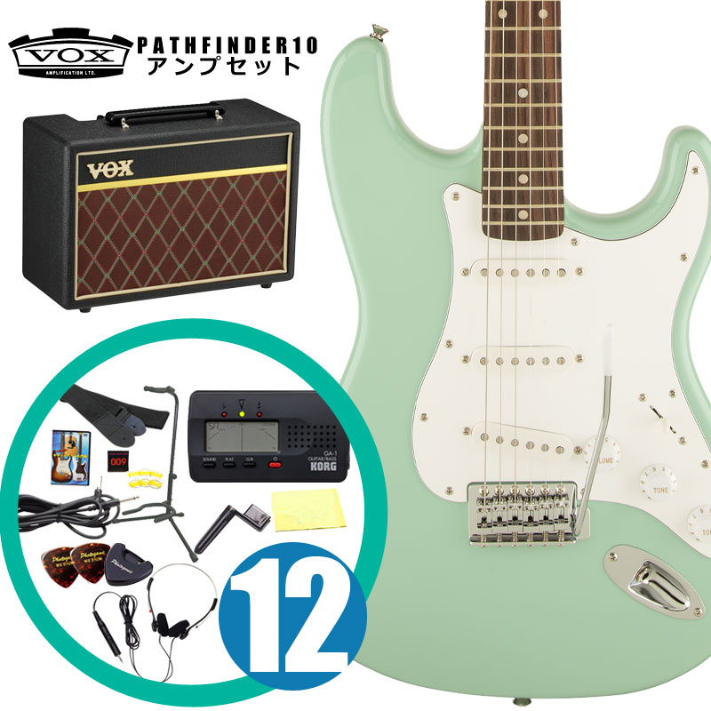 Squier by Fender / エレキギター入門セット Affinity Stratocaster Surf Green Rosewood 【VOXアンプ&小物セット】 入門 初心者