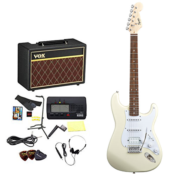 Squier / エレキギター入門セット Bullet Stratocaster with Tremolo HSS Arctic white 【VOXアンプ&小物セット】 入門 初心者【WEBSHOP】