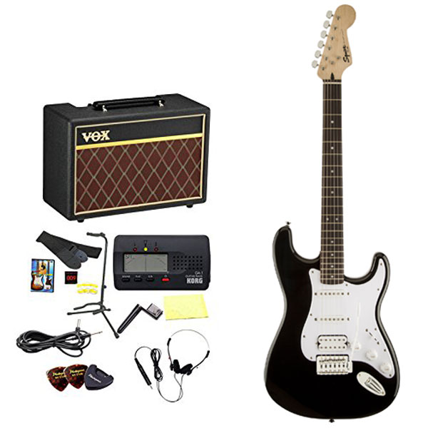 Squier by Fender / エレキギター入門セット Bullet Stratocaster with Tremolo HSS Black 【VOXアンプ&小物セット】 入門 初心者【WEBSHOP】