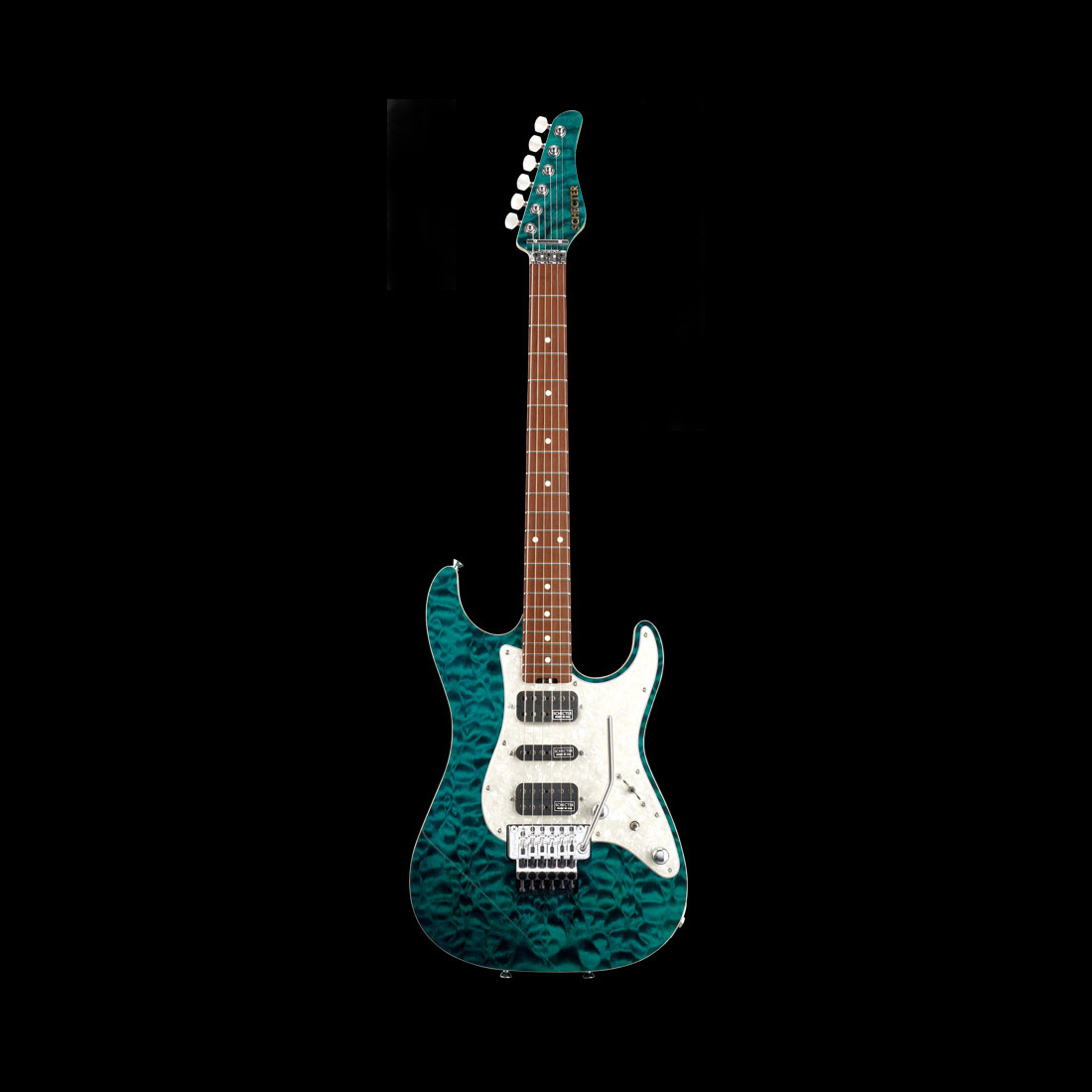 Schecter / EX-V-22-CTM-FRT Rosewood 4A Black Turquoise シェクター エレキギター 《受注生産:予約受付中》