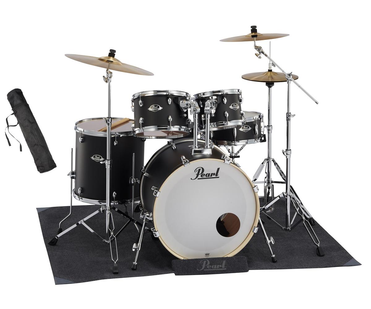 Pearl ドラムセット EXX725S/C #761 Stain Shadow Black パール シンバル付ドラムフルセット (スタンダードサイズ) 純正マットセット