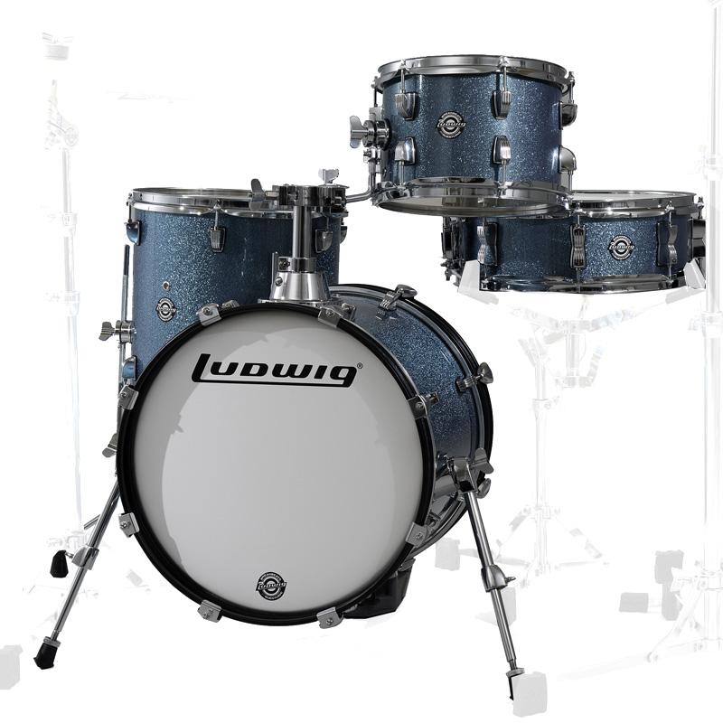 Ludwig LC179X023 BREAKBEATS AZURE BLUE SPARKLE 4 Piece Shell Kit