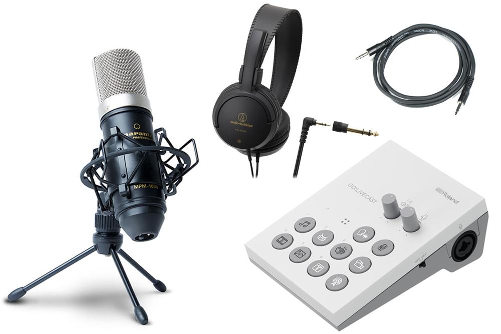 Roland / GO:LIVECAST -おすすめコンデンサーマイクMPM-1000J、ヘッドフォン、AUXケーブル付の高音質配信セット- Live Streaming Studio for Smartphones【YRK】