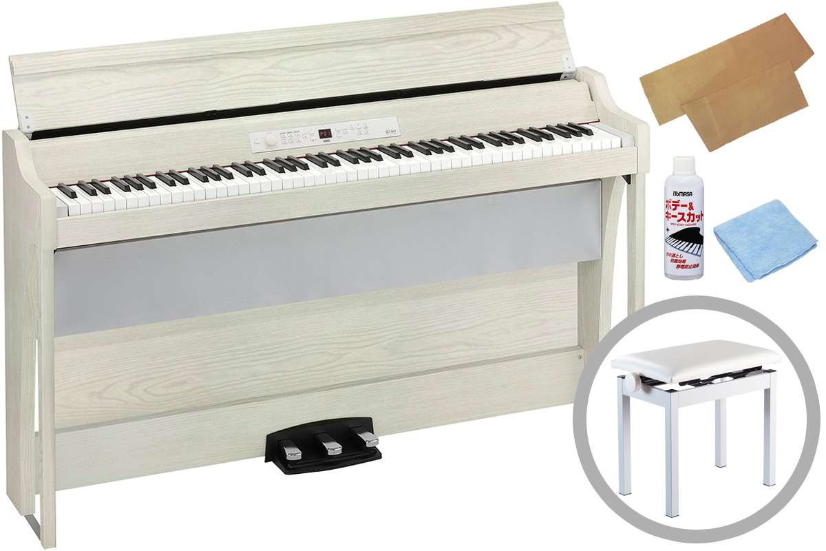 KORG コルグ / G1B AIR WHASH (ホワイト・アッシュ)【高低自在椅子セット】《お手入れセットプレゼント》電子ピアノ【PNG】 《予約注文/納期未定》
