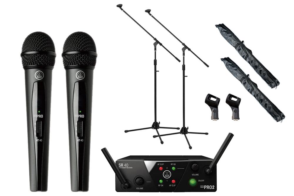 AKG / WMS40 PRO MINI2 VOCAL SET DUAL 2チャンネルマイクワイヤレスシステム -マイクスタンドスタートセット-