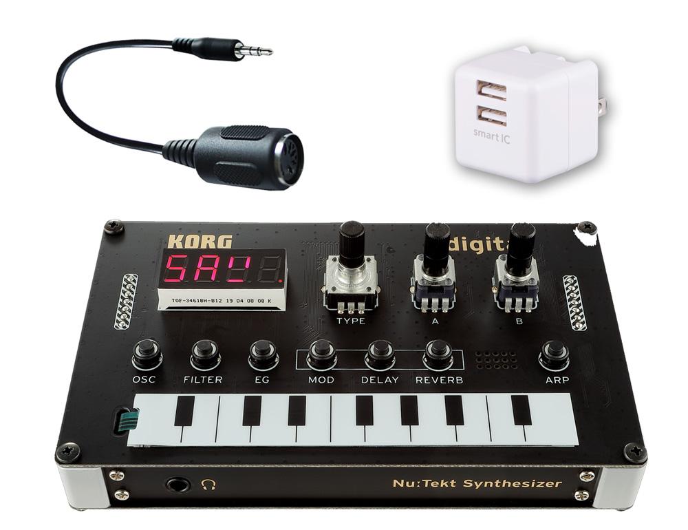 KORG / Nu:Tekt NTS-1 digital KIT DIYシンセキット -USB2ポートAC、純正MIDI変換コネクタセット-【YRK】