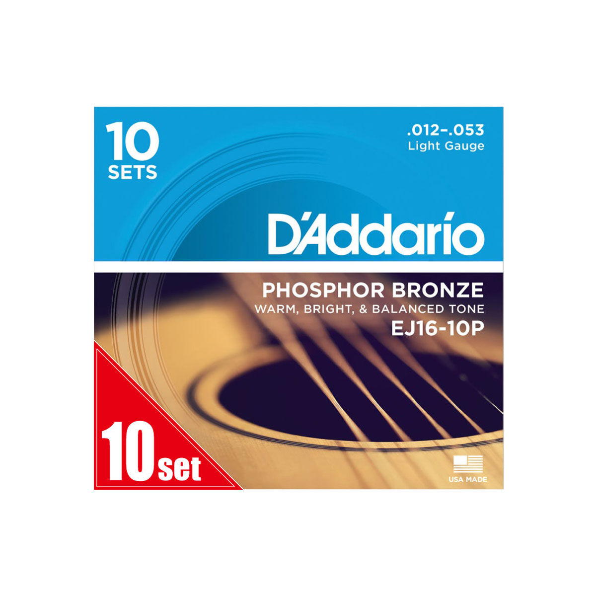D'Addario / EJ16-10P Phosphor Bronze Light 12-53 アコースティックギター弦 10セットパック 【お取り寄せ商品】