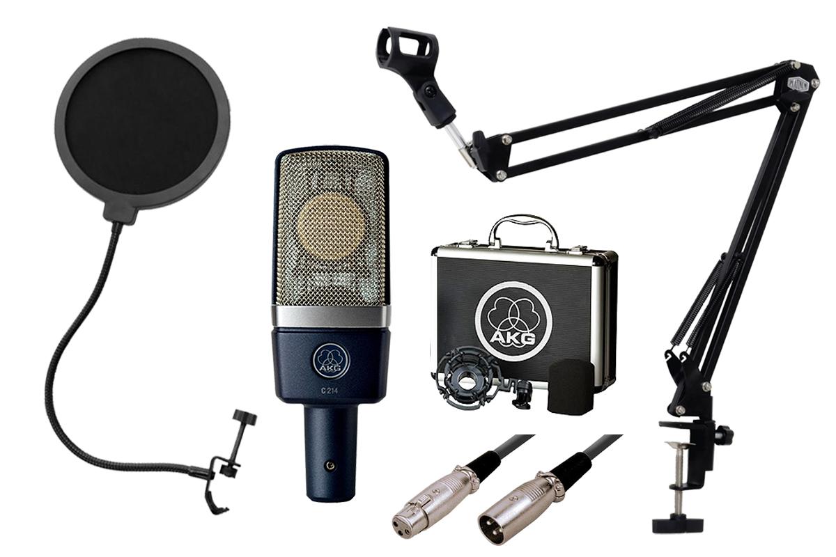 コンデンサーマイクを導入するのに安心のスターティングセット あす楽365日 再再販 AKG C214-Y4 高音質コンデンサーマイクセット アームスタンド付- PNG 安い ポップブロッカー -3mマイクケーブル