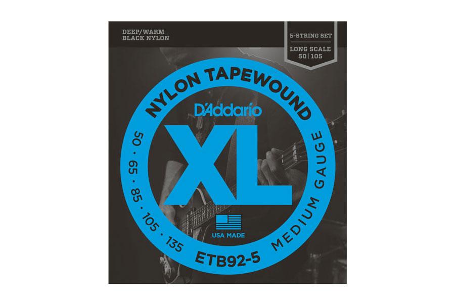 D'Addario / ETB92-5 Black Nylon Tapewound 5-String Bass Medium 50-135 Long Scale ベース弦【お取り寄せ商品】