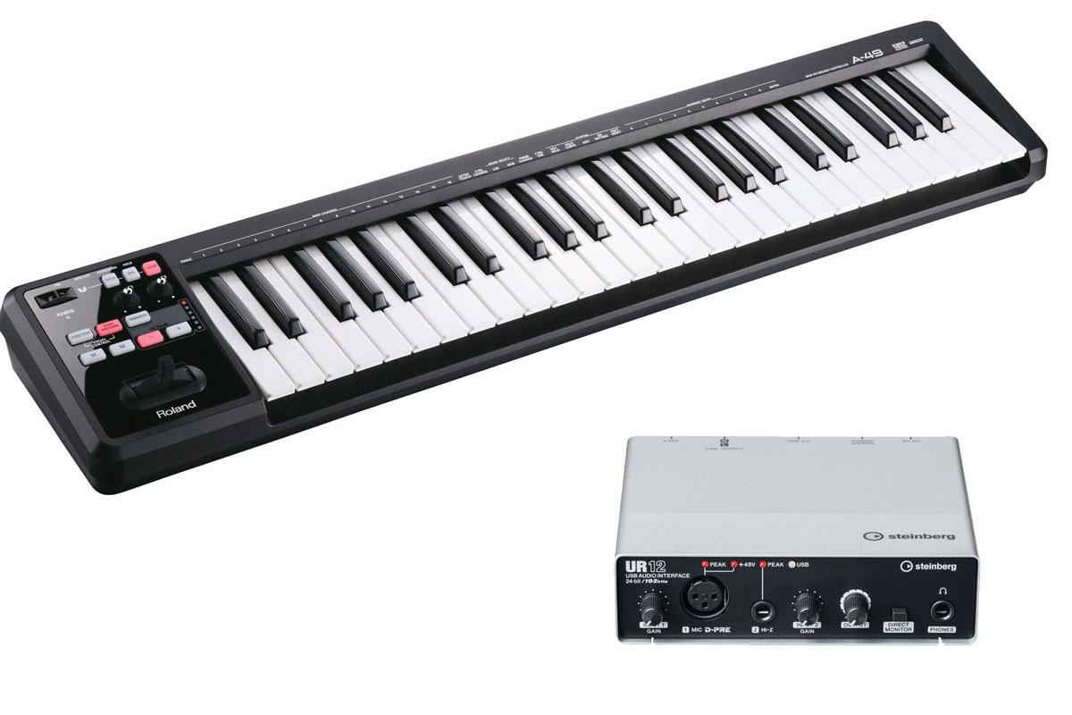 Roland / A-49BK + Steinberg / UR12 MIDIキーボード+ USBオーディオインターフェース DTMセット【YRK】
