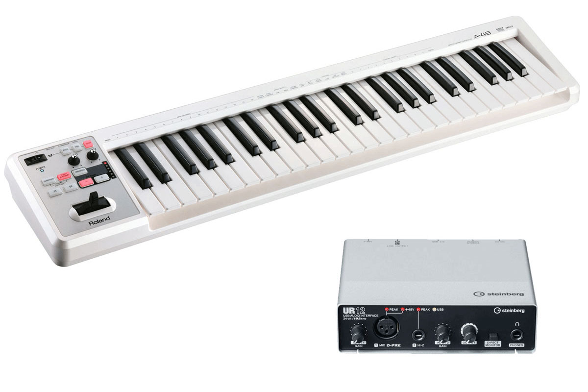 Roland / A-49WH + Steinberg / UR12 MIDIキーボード+ USBオーディオインターフェース DTMセット【YRK】