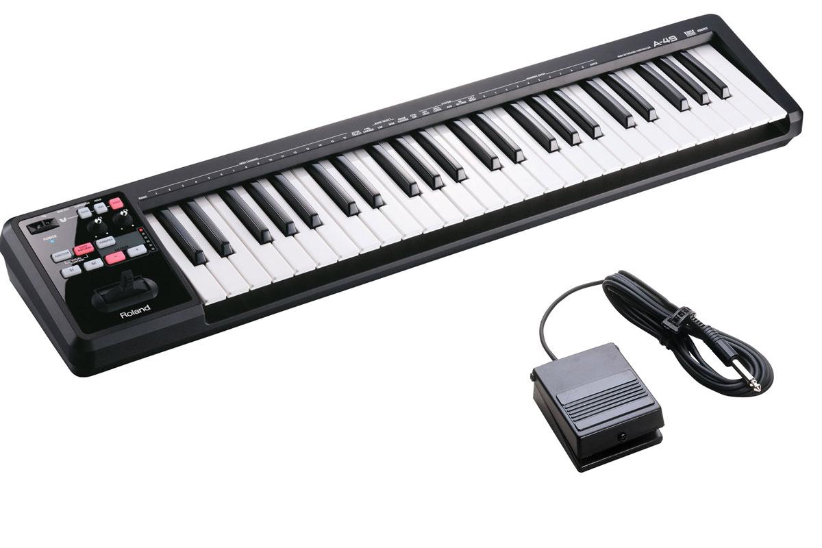 Roland ローランド / A-49 BK ブラック 【DP-2ペダルセット!】 49鍵盤MIDIキーボード【YRK】