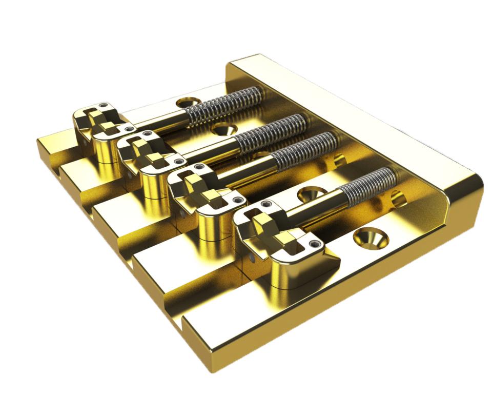 HIPSHOT / 4 Strings KickAss Bass Bridge Gold ベース用ブリッジ ヒップショット【お取り寄せ商品】【WEBSHOP】