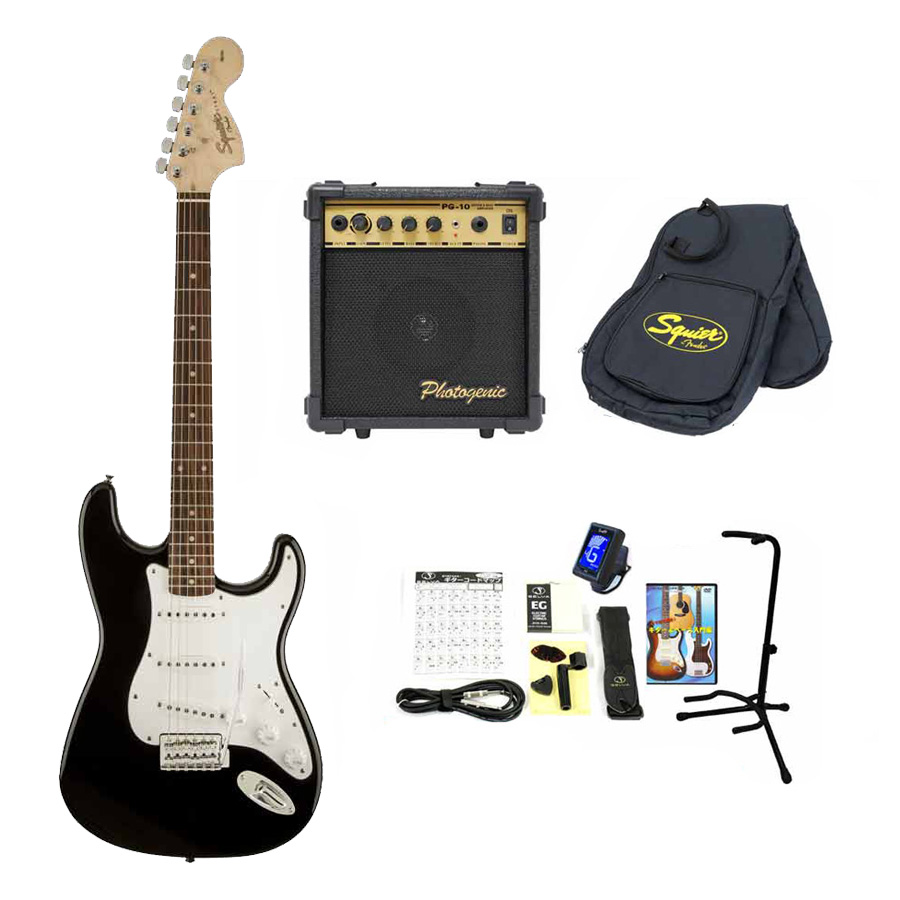 Squier / Affinity Stratocaster Black Rosewood スクワイヤー エレキギター 【10Wアンプ&小物セット】 入門 初心者 【お取り寄せ商品】