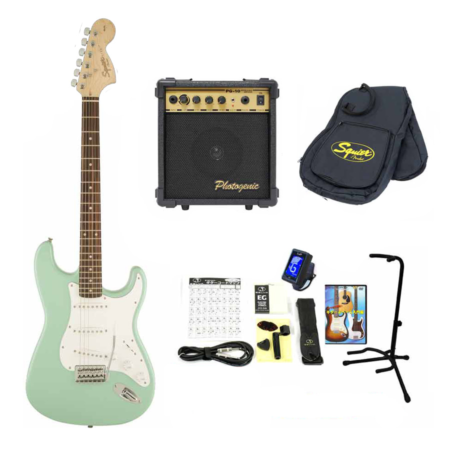 Squier / Affinity Stratocaster Surf Green Rosewood スクワイヤー エレキギター 【10Wアンプ &小物セット】 入門 初心者