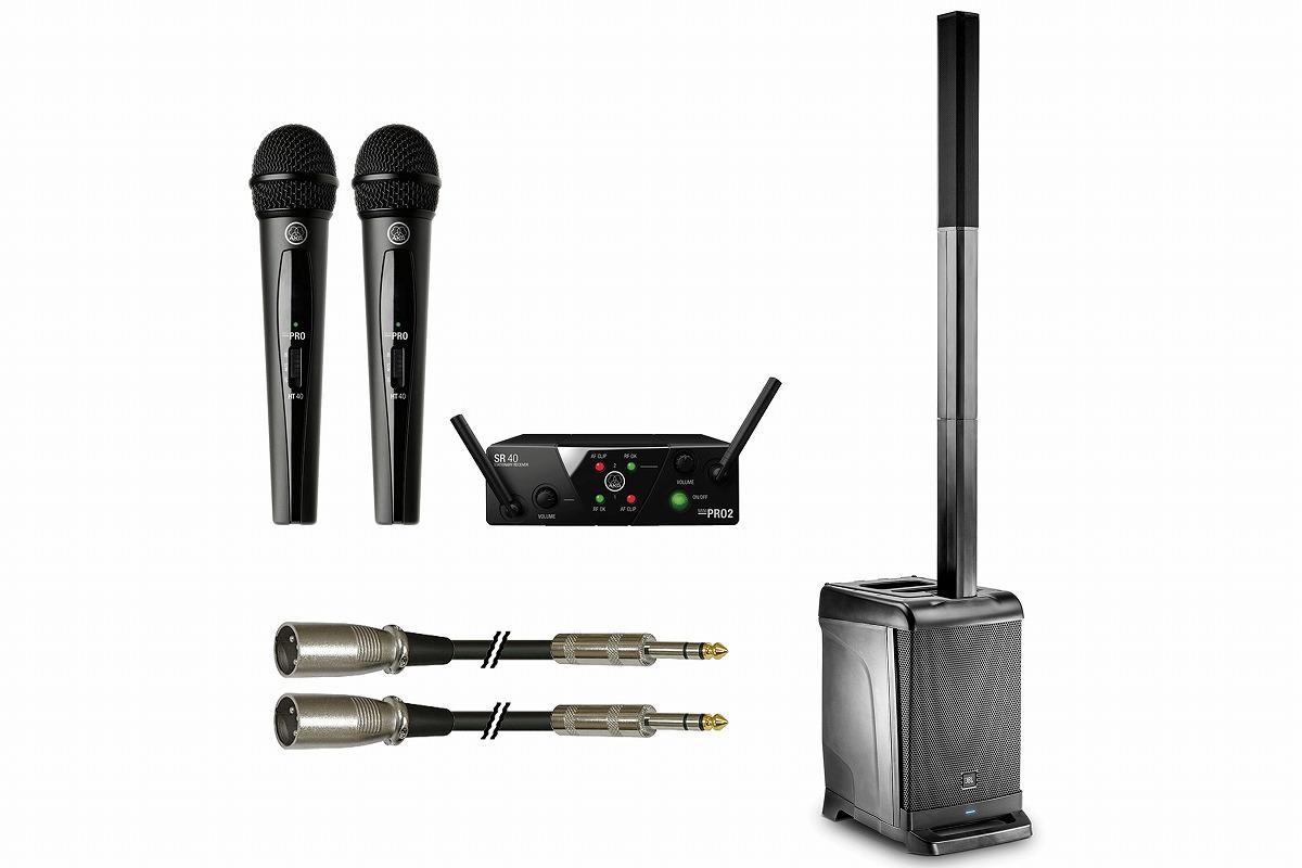 JBL / EON ONE + AKG / WMS40 PRO MINI2 VOCAL SET DUAL 簡単ポータブルワイヤレスPAセット