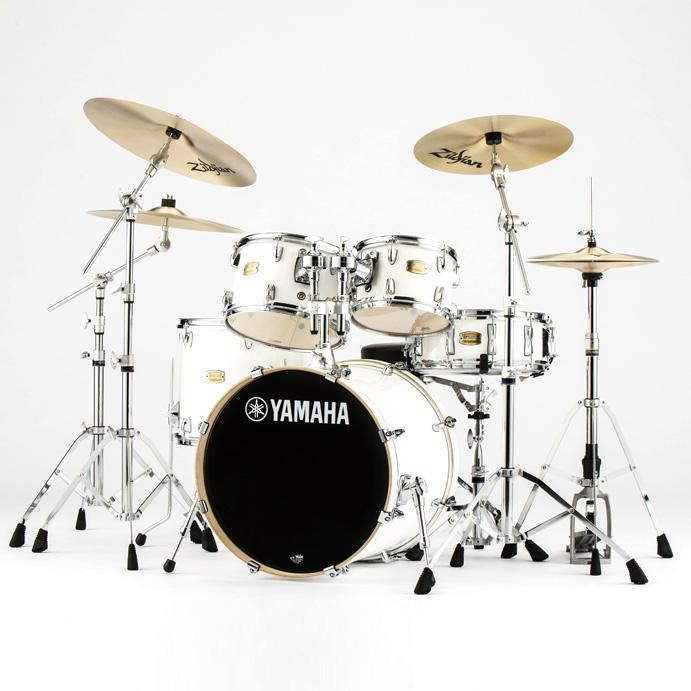 YAMAHA ドラムセット SBP0F5ZBT18-PWピュアホワイト ステージカスタム 20BD/スタンダードセット+ジルジャンZBT 3シンバルセット【YRK】
