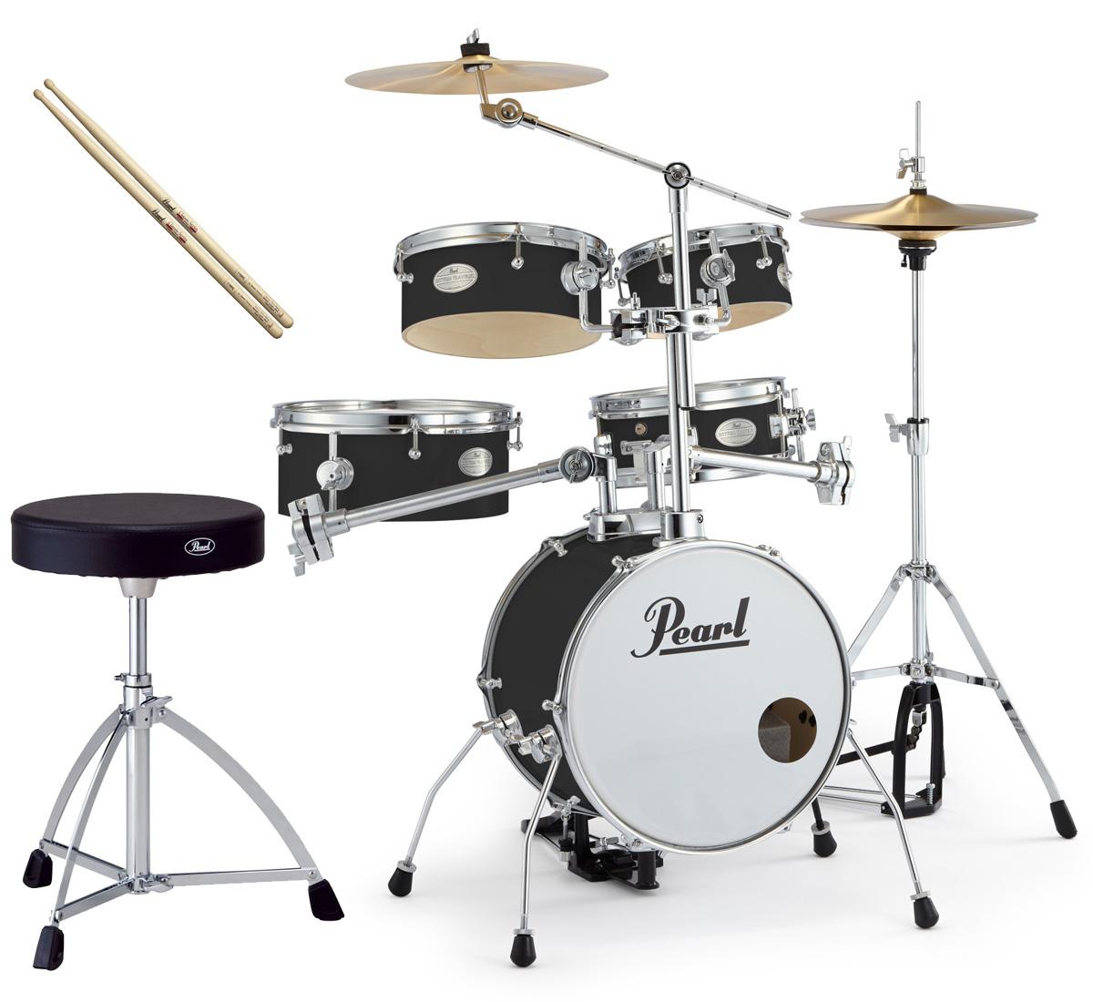 Pearl 小型 ドラムセット RT-645N/C 31-ジェットブラック リズムトラベラー ver.3S パール純正ドラムイスとスティックセット