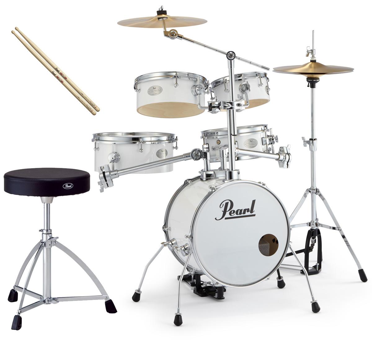 Pearl 小型 ドラムセット RT-645N/C 33-ピュアホワイト リズムトラベラー ver.3S パール純正ドラムイスとスティックセット