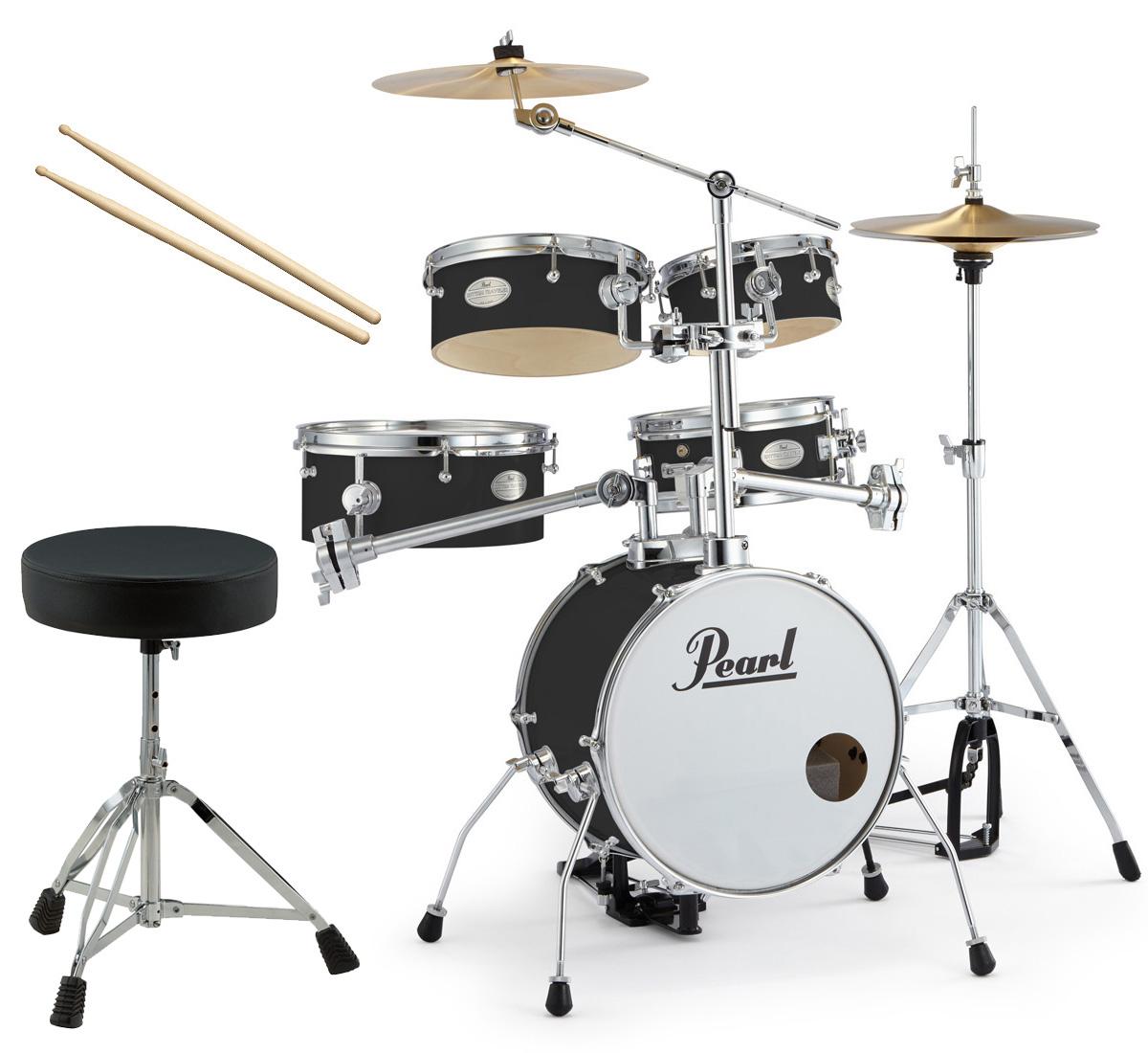 Pearl 小型 ドラムセット RT-645N/C 31-ジェットブラック リズムトラベラー Version 3S ドラムイスとスティック付き