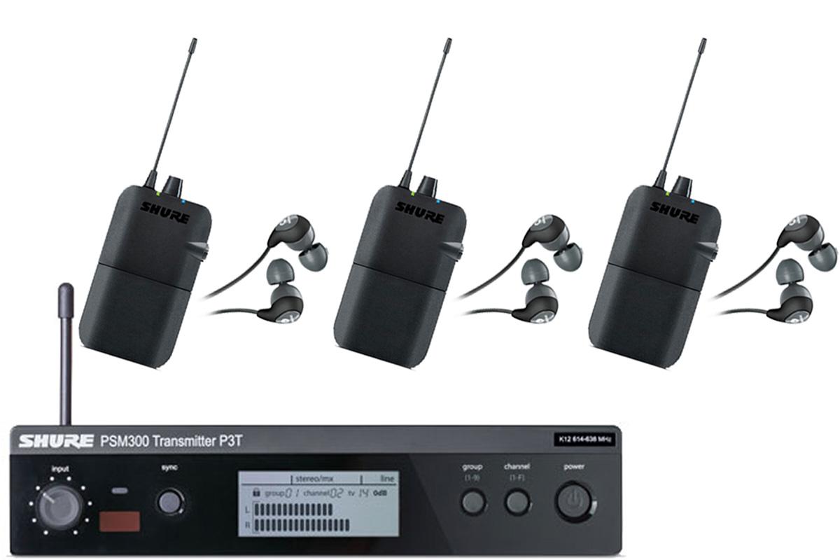 Shure シュアー / P3TR112GR PSM 300 イヤフォン付きワイヤレスイヤモニ 【受信機3台セット】【お取り寄せ商品】
