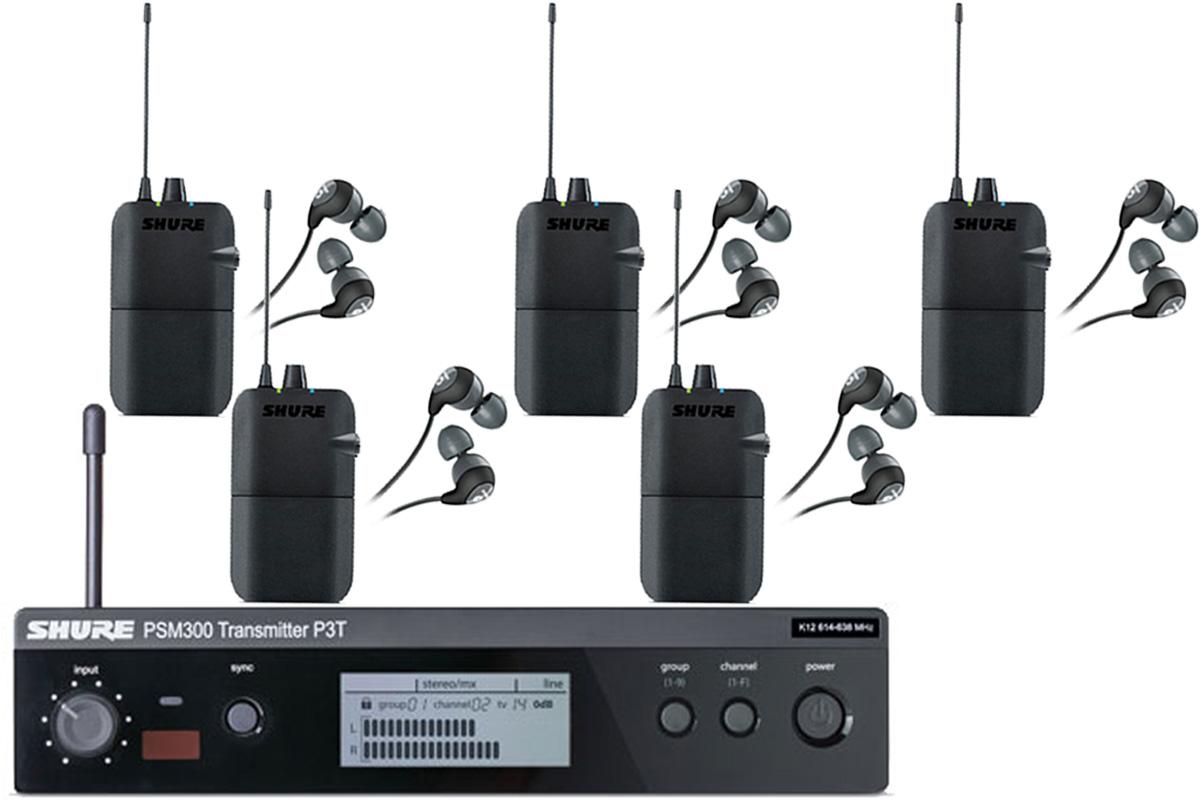 Shure シュアー / P3TR112GR PSM 300 イヤフォン付きワイヤレスイヤモニ 【受信機5台セット】【お取り寄せ商品】