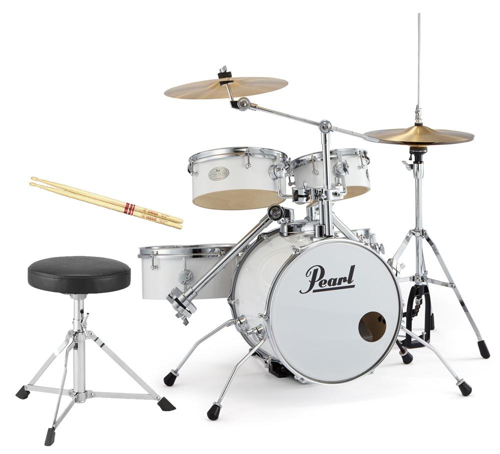 Pearl 小型ドラムセット リズムトラベラー RT-645N/C 33-ピュアホワイト 子供用オプションセット