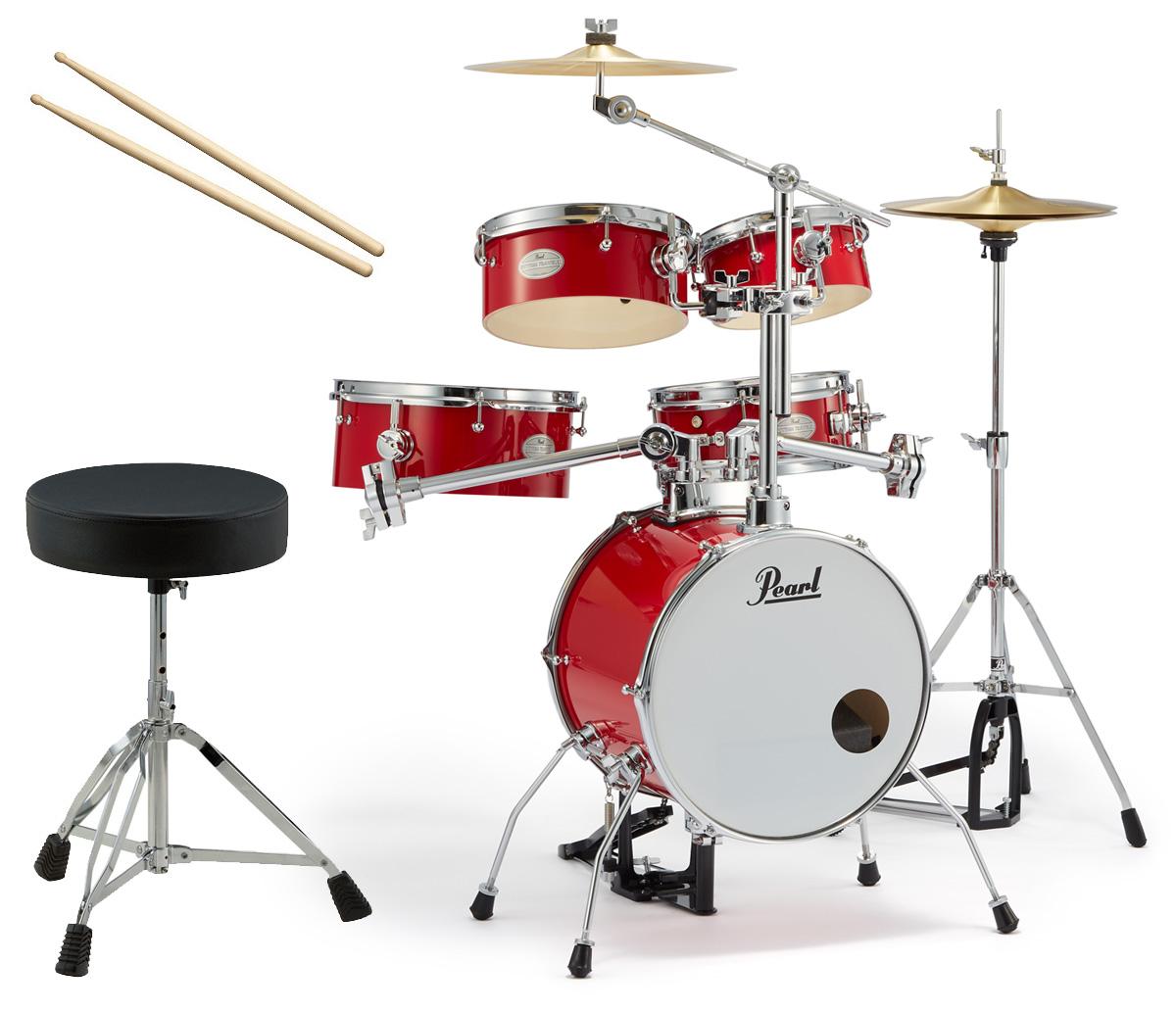 Pearl 小型 ドラムセット RT-645N/C 94-キャンディアップル リズムトラベラー ドラムイスとスティック付き