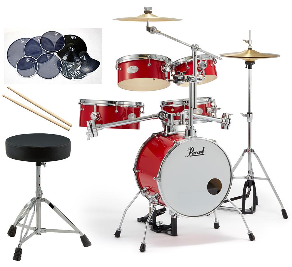 Pearl 小型 ドラムセット RT-645N/C-94 リズムトラベラー サイレントパック ドラムイスとスティック付き一括セット