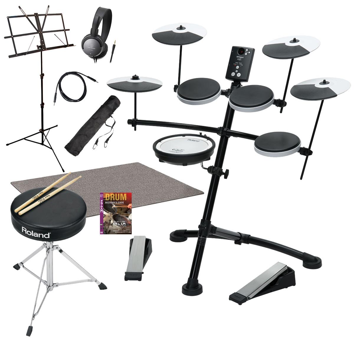 Roland 電子ドラム TD-1KV 3シンバル 純正ドラムイスとスティック マット付きスペシャルパック【YRK】