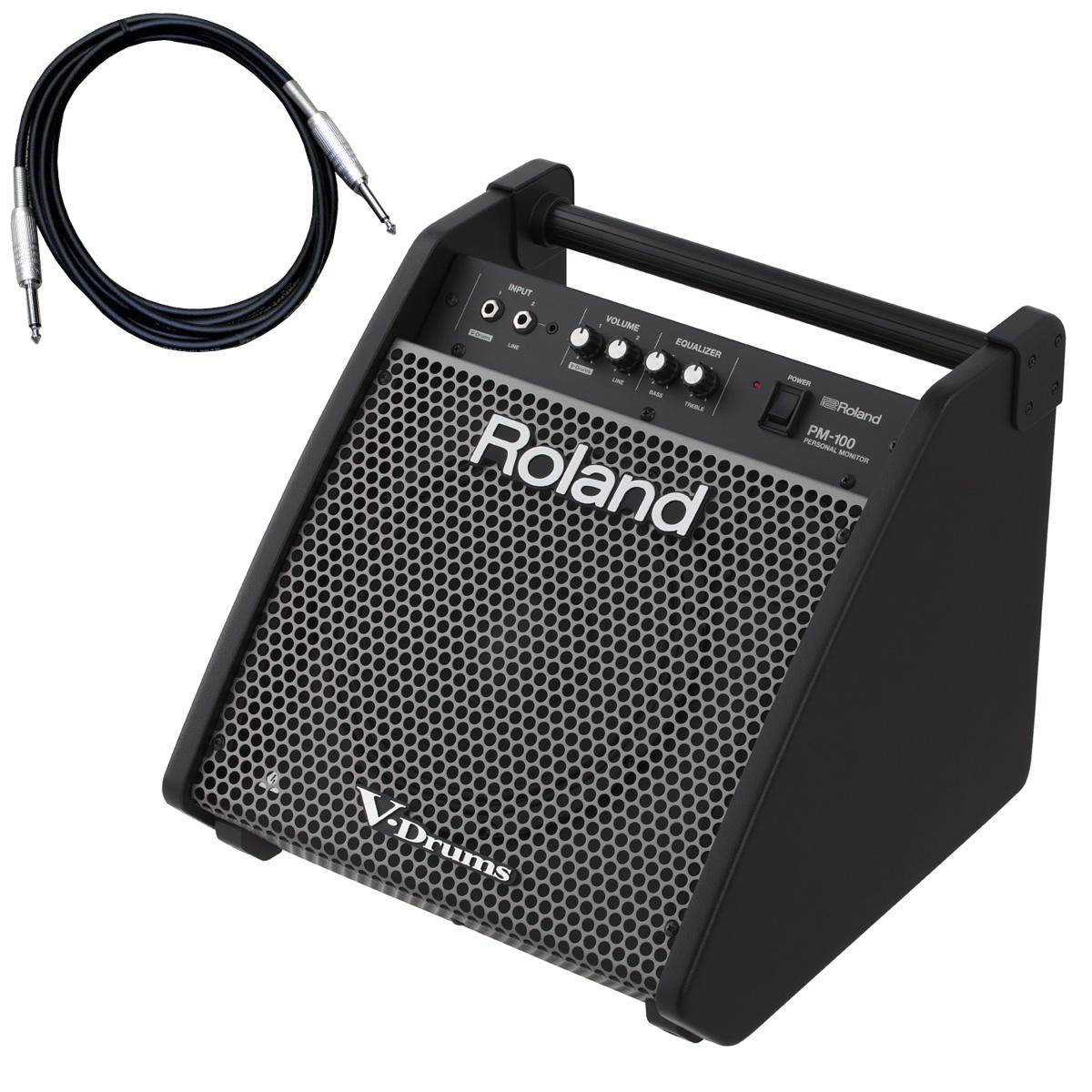 Roland 電子ドラム用モニタースピーカー PM-100 カナレ接続ケーブルセット