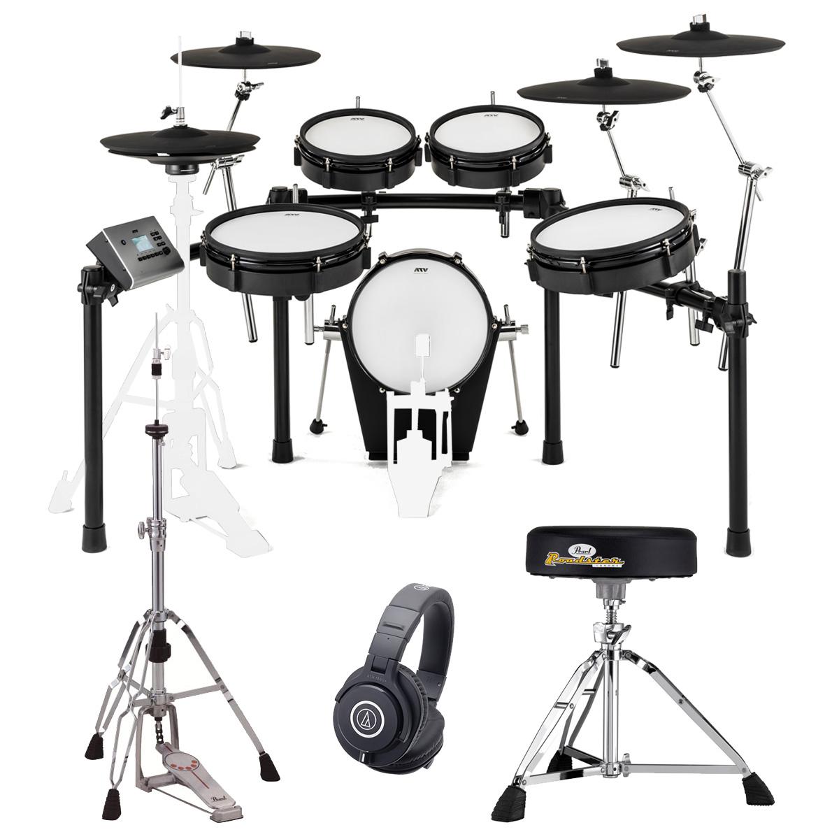 【在庫あります】ATV / EXS-5 電子ドラム PEARLハードウエアとM40xヘッドホンセット/ペダル別売