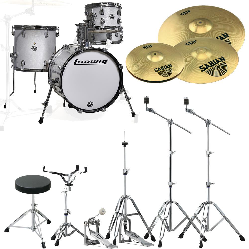 Ludwig ドラムセット BREAKBEATS LC179X028 White Sparkle シンバルとハードウェア一括セット