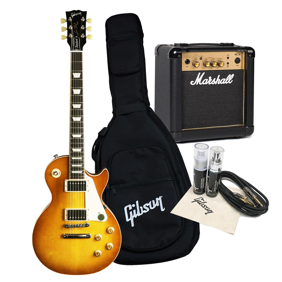 【タイムセール:18日12時まで】Gibson USA / Les Paul Standard 2019 Faded -WS Satin Honeyburst 60s Marshall MG10ampアクセサリーセット《特典付/80-set21419》《特製Marshallロゴアクリルキーホルダー/+811170600》【WEBSHOP】《純正ギグバッグ/+811171500》
