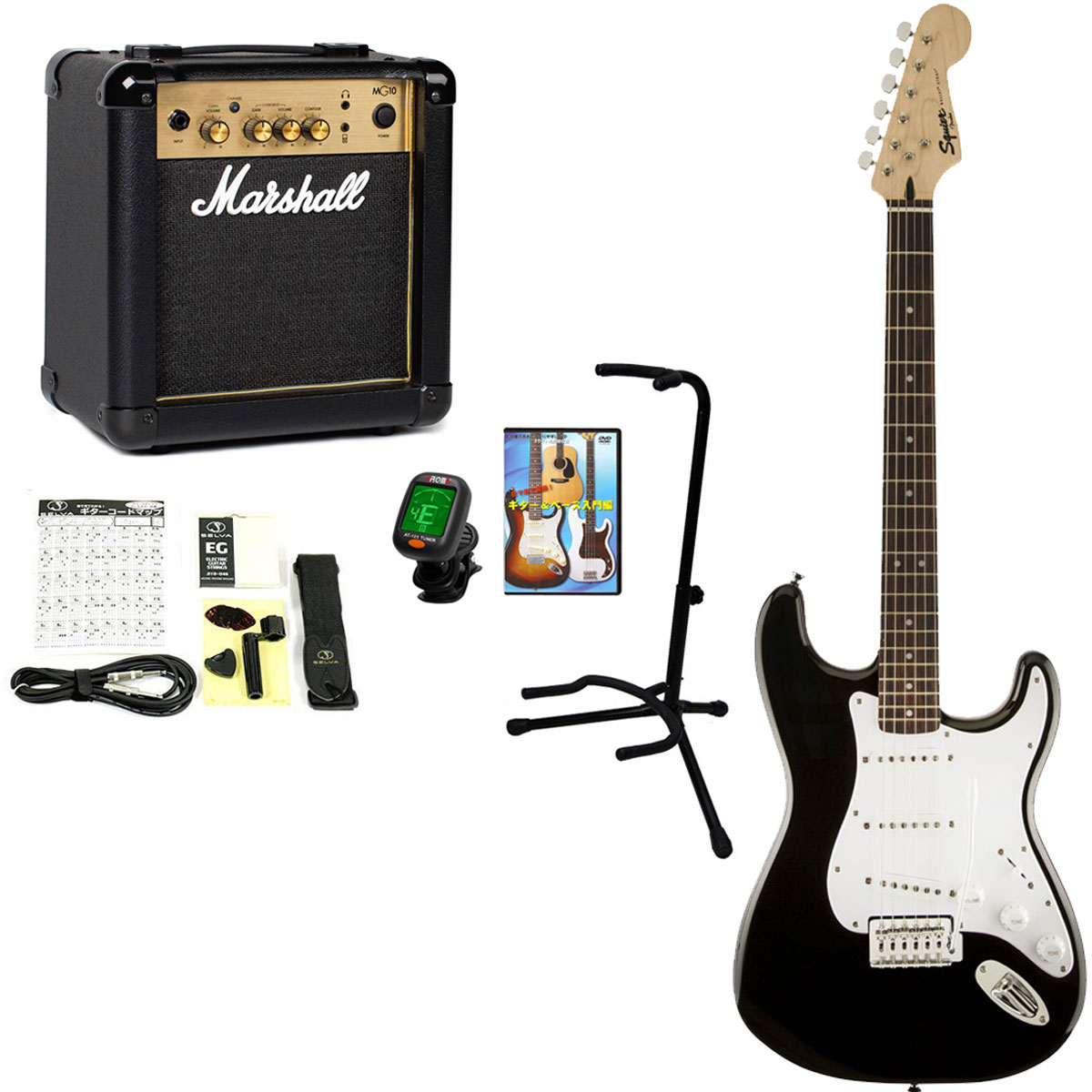Squier by Fender / Bullet Stratocaster with Tremolo Black 【Marshall MG10G +豪華アクセサリーセット】