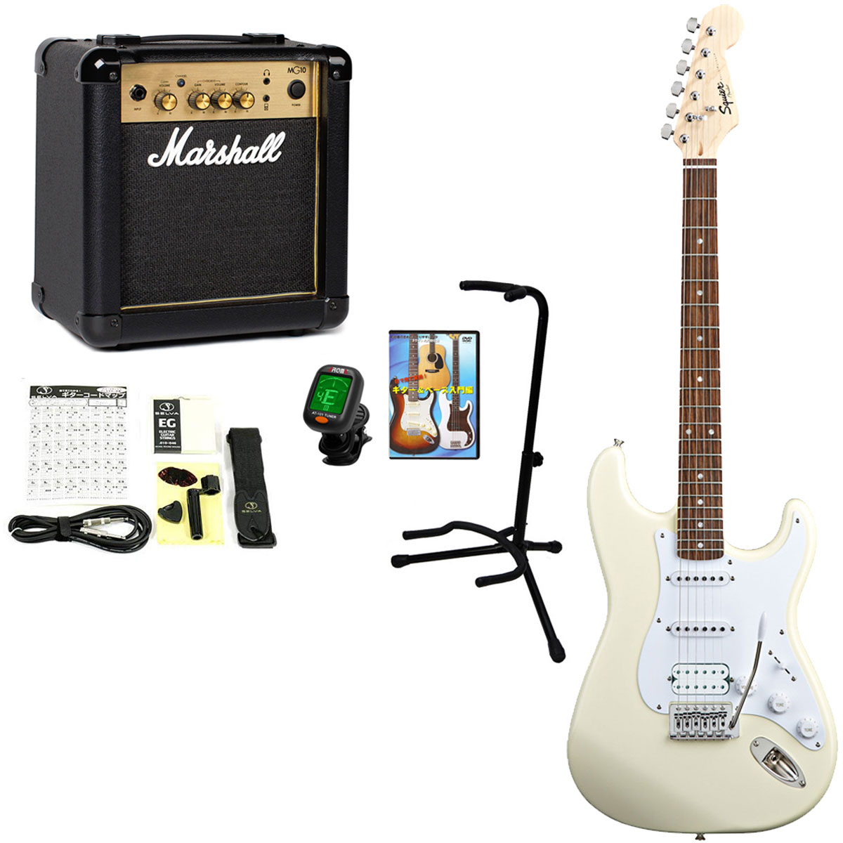 Squier by Fender / Bullet Stratocaster with Tremolo HSS Arctic White 【Marshall MG10G +豪華アクセサリーセット】