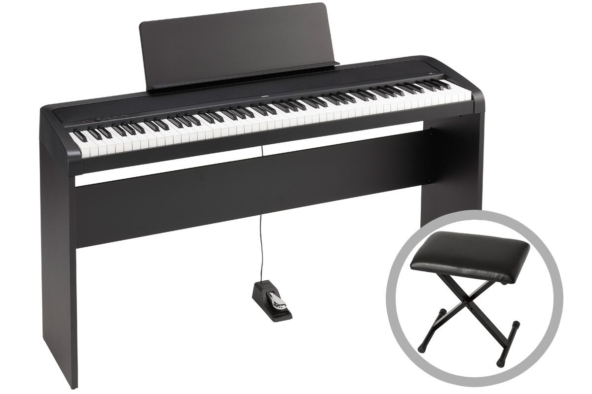 KORG コルグ / B2-BK (ブラック)【専用スタンド&椅子セット!】デジタル・ピアノ【PNG】