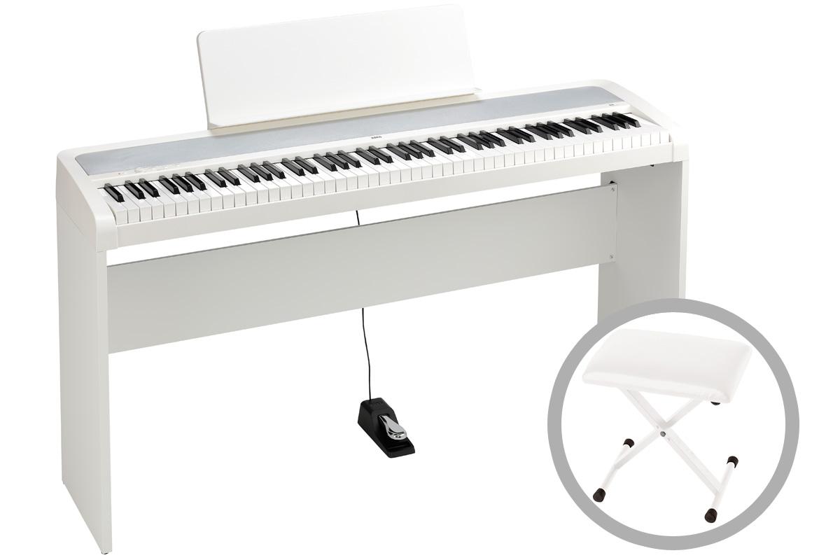 KORG コルグ / B2-WH (ホワイト)【専用スタンド&椅子セット!】デジタル・ピアノ【PNG】