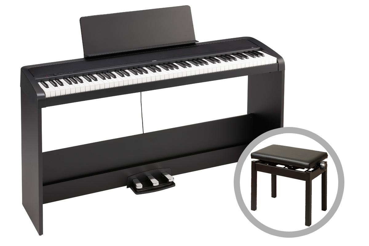 KORG コルグ / B2SP-BK (ブラック)【高低自在ピアノ椅子セット!】デジタル・ピアノ【PNG】