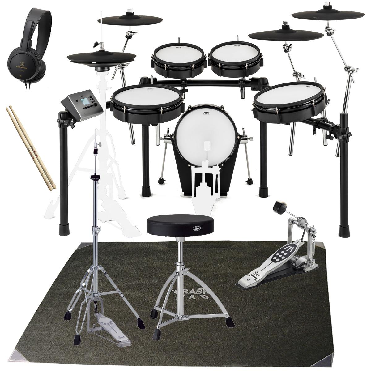 【タイムセール:29日12時まで】【在庫あります】ATV / EXS-5 電子ドラム PEARLスターターパックS/ドラムマットセット