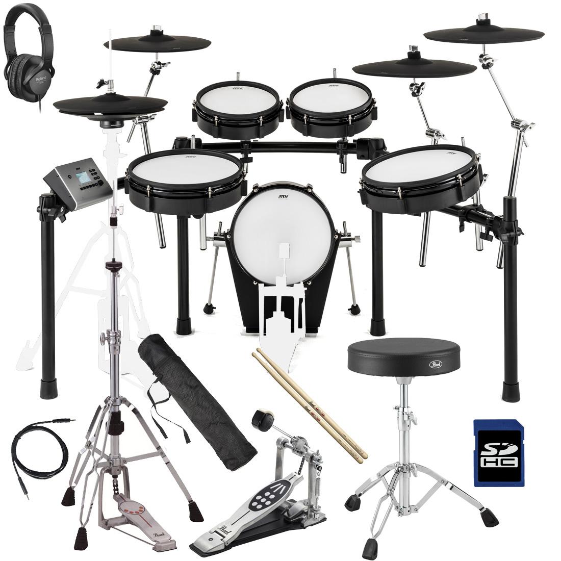 【在庫あります】ATV / EXS-5 電子ドラム PEARLスターターパック(W)【BLKFRD】