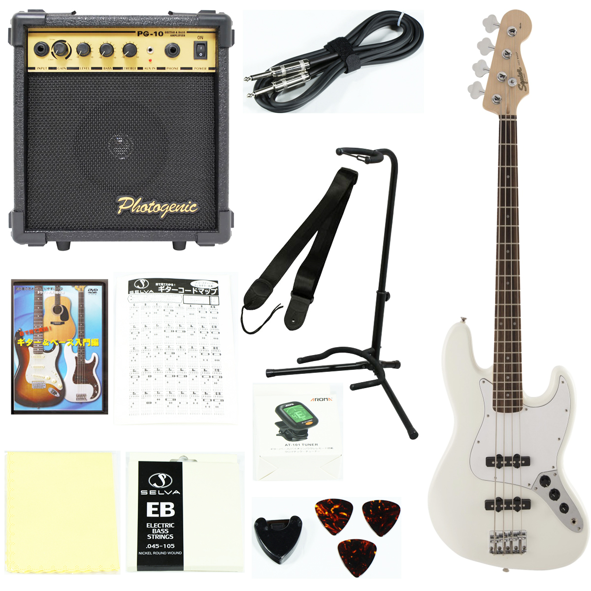 Squier by Fender / Affinity Jazz Bass Laurel Fingerboard Olympic White【エレキベース入門セット】初心者 入門セット 初心者セット