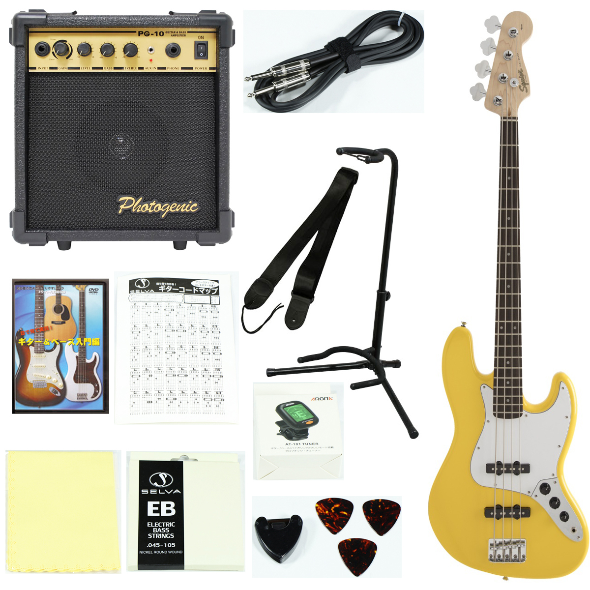 Squier by Fender / Affinity Jazz Bass Laurel Fingerboard Graffiti Yellow【エレキベース入門セット】初心者 入門セット 初心者セット