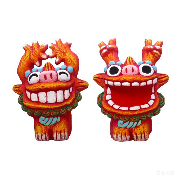 シーサー【米子焼】  ワッショイL 赤 Lサイズ 石垣島 沖縄 シーサー 特産品 通販 焼き物