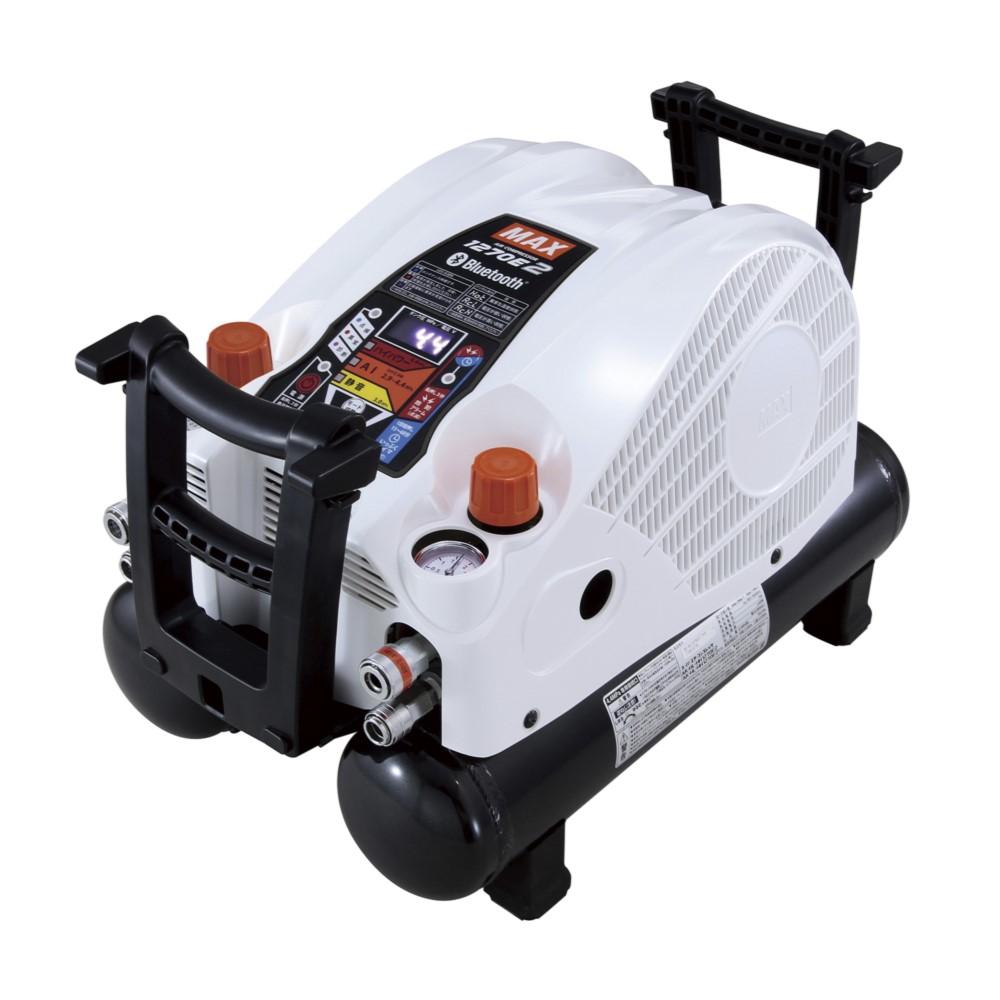 MAX マックス 高圧エアコンプレッサ AK-HH1270E2 クールホワイト 高圧取出口4個 スマホで遠隔操作可能