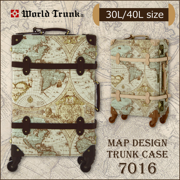 スーツケース WORLD TRUNK マップ柄トランクケース 7016-47 Sサイズ 小型 30L 1-2泊 メンズ レディース