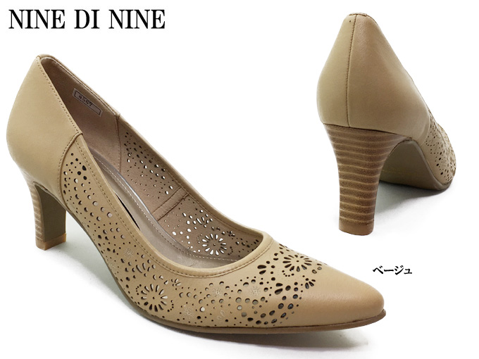 NINE DI NINE No.116-8567レディース パンプス ポインテッドトゥ パンチング サイレントリフト スタックヒール ハイヒール 靴 本革 日本製 女性 婦人