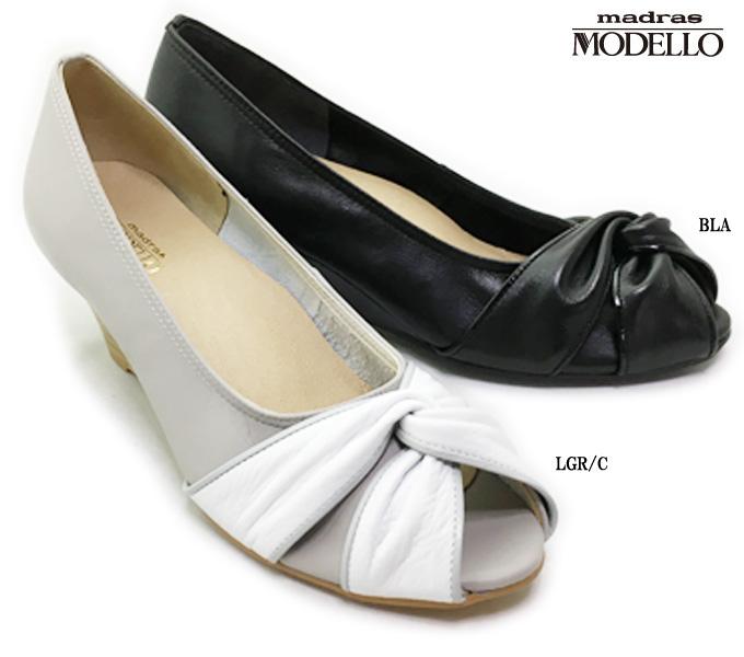 madras MODELLO DLL1386 マドラス・モデロレディース パンプス オープントゥ ウェッジソール リボン クッション性あり 靴 本革 ソフト革 日本製 女性 婦人
