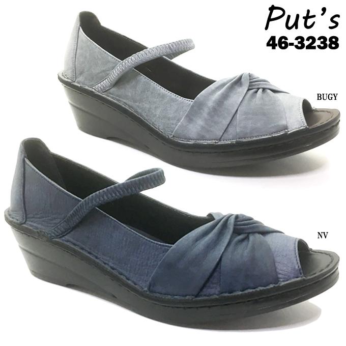 Put's プッツ 46-3238 レディース パンプス オープントゥ つや消し 本革 天然皮革 ソフト革 靴 シューズ リボン ストレッチ ストラップ コンフォート 日本製 made in japan 女性 婦人