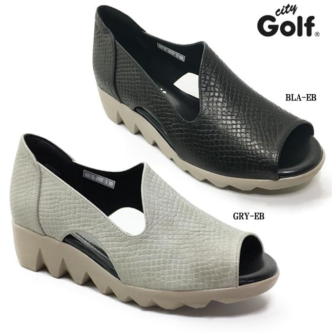 madras City Golf GFL5224 マドラス シティゴルフレディース カジュアル コンフォートシューズ 靴 天然皮革 オープントゥ 安定感 屈曲性 静音 クッション性 ウェッジソール シャーク底 幅広 4E EEEE 女性 婦人